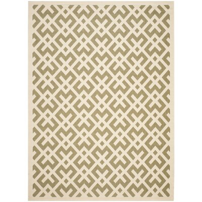 Quinlan Green / Bone Outdoor Rug Rug Size: Rectangle 53 x 77