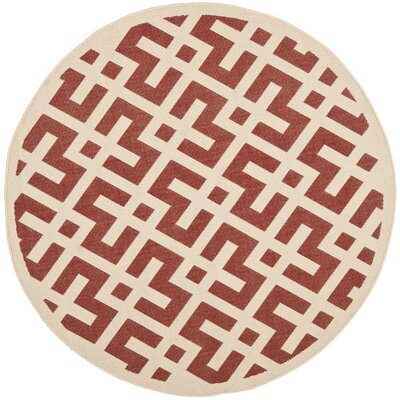 Quinlan Red / Bone Outdoor Rug Rug Size: Round 67