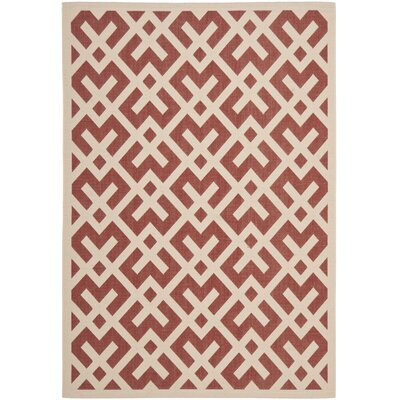 Andersen Red / Bone Outdoor Rug Rug Size: 53 x 77
