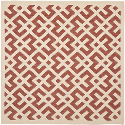 Quinlan Red / Bone Outdoor Rug Rug Size: Square 53