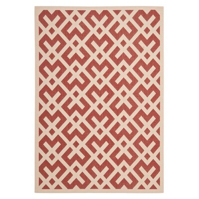Quinlan Red / Bone Outdoor Rug Rug Size: Rectangle 2 x 37