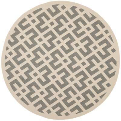 Quinlan Gray/Bone Indoor/Outdoor Area Rug Rug Size: Round 67