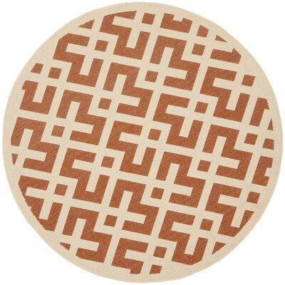 Quinlan Terracotta/Bone Indoor Indoor/Outdoor Area Rug Rug Size: Round 53