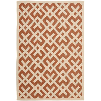 Quinlan Terracotta/Bone Indoor Indoor/Outdoor Area Rug Rug Size: Rectangle 53 x 77