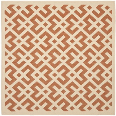 Quinlan Terracotta / Bone Indoor/Outdoor Rug Rug Size: Square 67