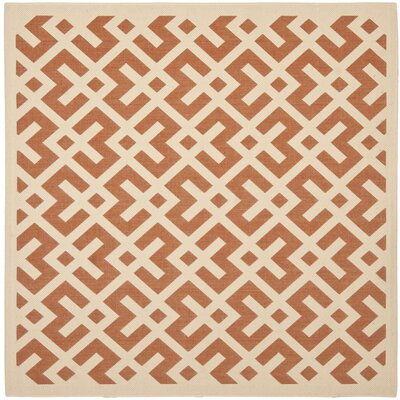 Quinlan Terracotta/Bone Indoor Indoor/Outdoor Area Rug Rug Size: Square 4