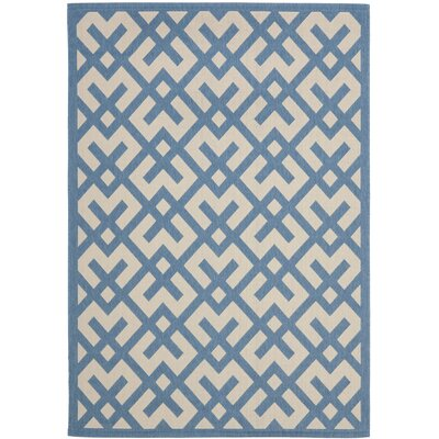 Quinlan Beige/Blue Indoor/Outdoor Rug Rug Size: Rectangle 27 x 5