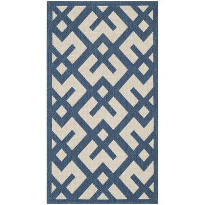 Quinlan Navy/Beige Outdoor Area Rug Rug Size: Rectangle 53 x 77