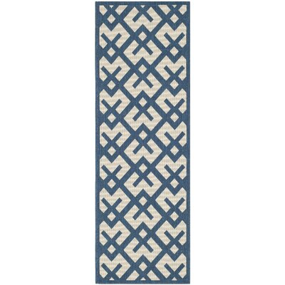 Quinlan Navy/Beige Outdoor Area Rug Rug Size: Runner 23 x 67