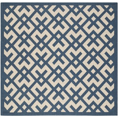 Quinlan Navy/Beige Outdoor Area Rug Rug Size: Square 67