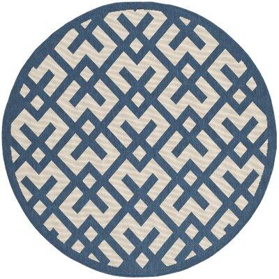 Quinlan Navy/Beige Outdoor Area Rug Rug Size: Round 67