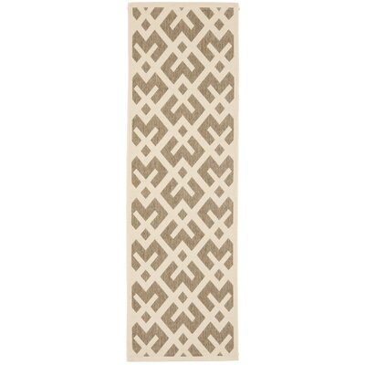 Quinlan Brown/Bone Outdoor Area Rug Rug Size: Runner 24 x 12