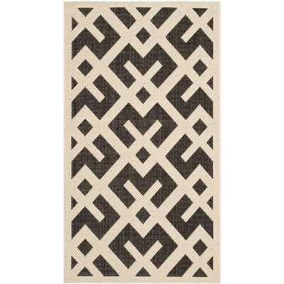 Quinlan Beige /  Black Indoor/Outdoor Rug Rug Size: Rectangle 27 x 5