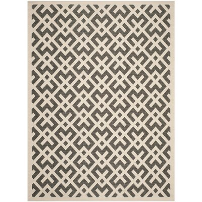 Quinlan Beige /  Black Indoor/Outdoor Rug Rug Size: Runner 23 x 12