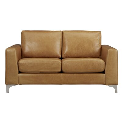 Shupe Leather Loveseat Upholstery: Caramel