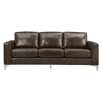 Shupe Leather Sofa Upholstery: Dark Brown