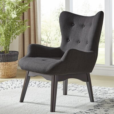 Shuman Wingback Chair Upholstery: Dark Gray