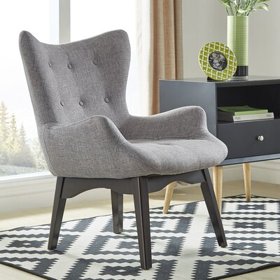 Shuman Wingback Chair Upholstery: Gray