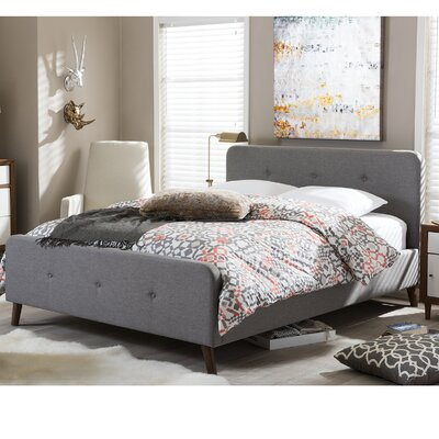 Shuffler Upholstered Platform Bed Upholstery: Grey, Size: Queen