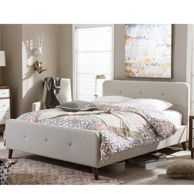 Shuffler Upholstered Platform Bed Size: Queen, Color: Light Beige