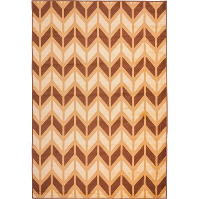 Clarendon Bourban Chevron Gold Area Rug Rug Size: Rectangle 53 x 73