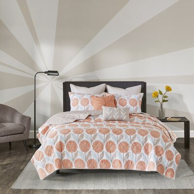 Wyss Cotton 7 Piece Coverlet Set Size: King/Cal King, Color: Coral