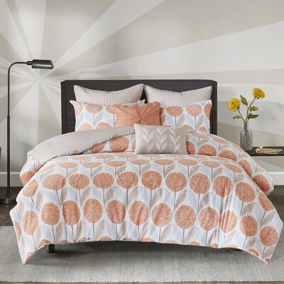 Wyss 7 Piece Cotton Duvet Cover Set Size: Full/Queen, Color: Coral