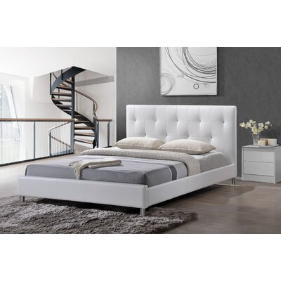 Iversen Upholstered Platform Bed Color: White, Size: Queen