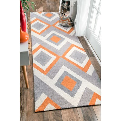 Isenberg Hand-Hooked Orange/Gray Area Rug Rug Size: Runner 26 x 8