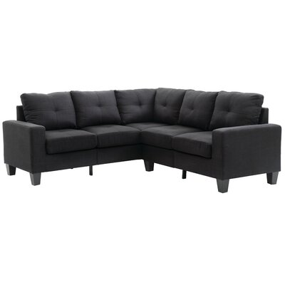 Tiff Reversible Sectional Upholstery: Black