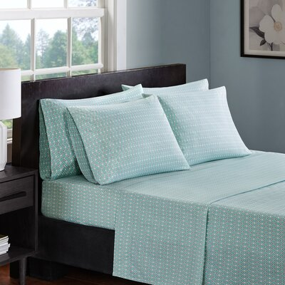 Allegan 200 Thread Count 100% Cotton Sheet Set Size: Full, Color: Aqua