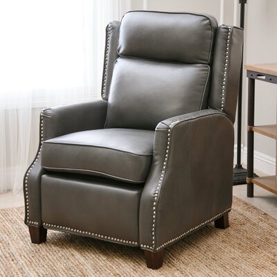 OMeara Push Back Leather Recliner