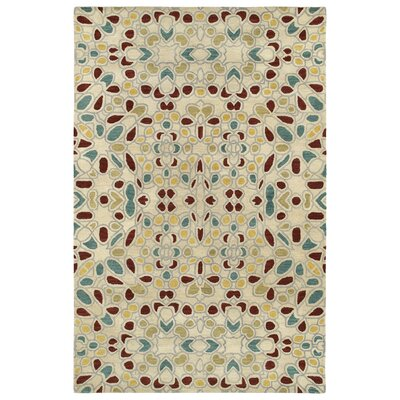 Devereaux Hand Tufted Beige/Green Area Rug Rug Size: 36 x 56