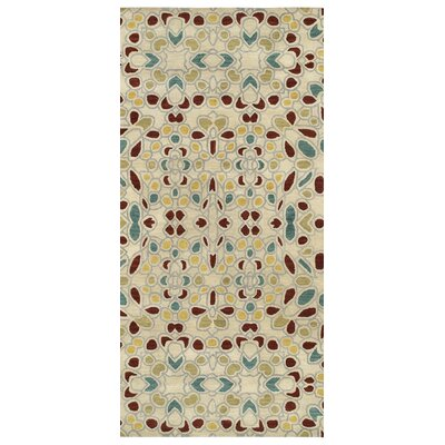 Devereaux Hand Tufted Beige/Green Area Rug Rug Size: Runner 26 x 8