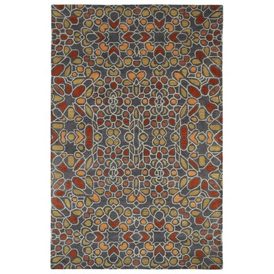 Devereaux Hand Tufted Gray/Orange Area Rug Rug Size: Rectangle 36 x 56