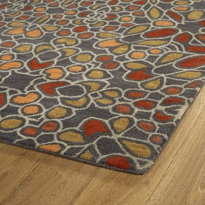Devereaux Hand Tufted Gray/Orange Area Rug Rug Size: Runner 26 x 8