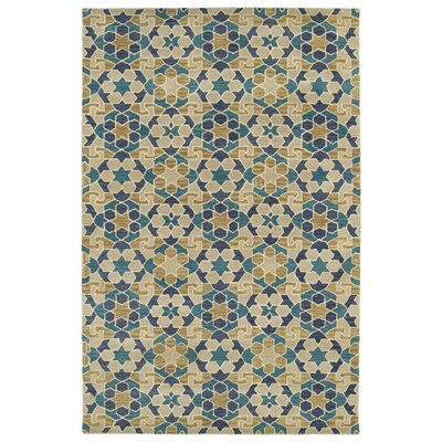 Devereaux Hand Tufted Blue/Beige Area Rug Rug Size: Rectangle 36 x 56