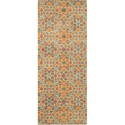 Devereaux Hand Tufted Orange Area Rug Rug Size: Runner 26 x 8