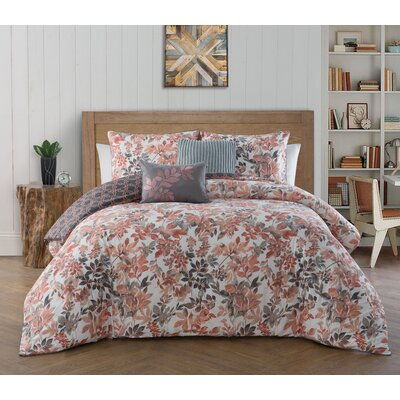 Agustin 5 Piece Reversible Comforter Set Size: Queen, Color: Coral