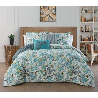 Agustin 5 Piece Reversible Comforter Set Size: King, Color: Teal
