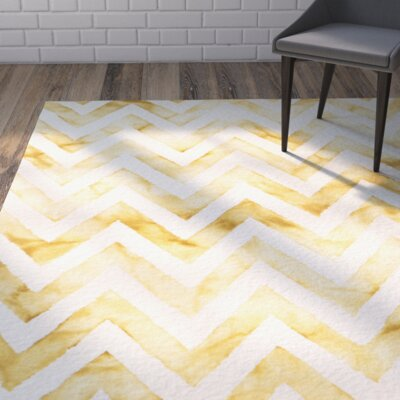 Crux Hand-Tufted Ivory / Gold Area Rug Rug Size: Rectangle 3 x 5