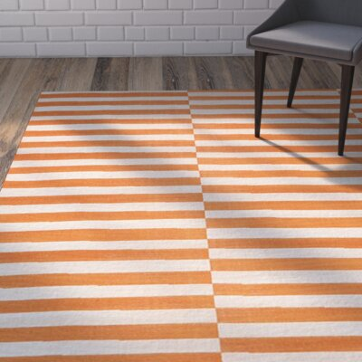Braxton Orange Area Rug Rug Size: Round 8