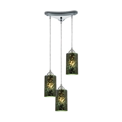 Burks 3-Light Metal Cascade Pendant Shade Color: Smoke