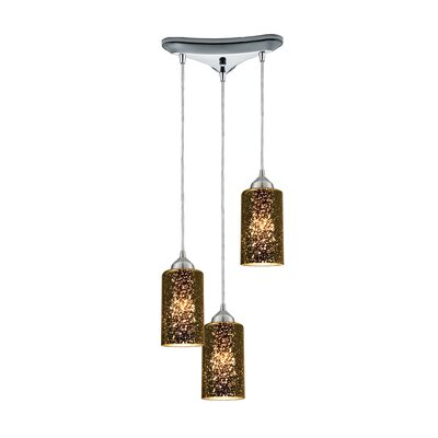 Burks 3-Light Metal Cascade Pendant Shade Color: Sage