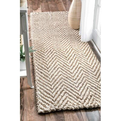 Norcross Hand-Woven Tan Area Rug Rug Size: Runner 26 x 12