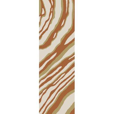 Mireia Hand-Hooked Rust/Beige Indoor/Outdoor Area Rug Rug Size: Runner 26 x 8