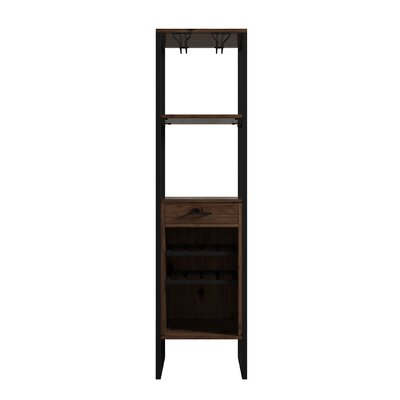 Delapaz 8 Bottle Floor Tower Wine Cabinet Color: Brown