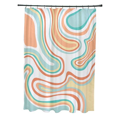 Block Polyester Agate Geometric Shower Curtain Color: Peach
