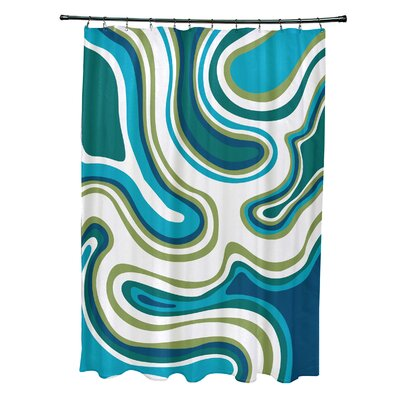 Buenrostro Polyester Agate Geometric Shower Curtain Color: Teal