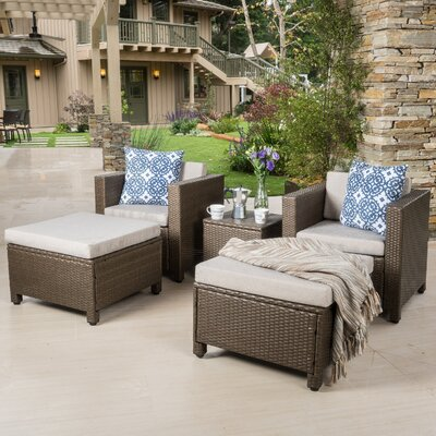 Delfino 5 Piece Lounge Seating Group with Cushion Fabric: Light Brown